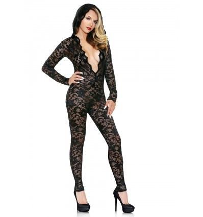 Fantasy Lingerie Mia Lace Hooded Catsuit