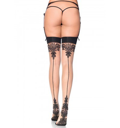 Leg Avenue Sheer Baroque Stay Up Strømper