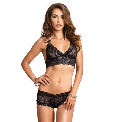 Leg Avenue Cut Out Sort Halterneck BH Med G-streng