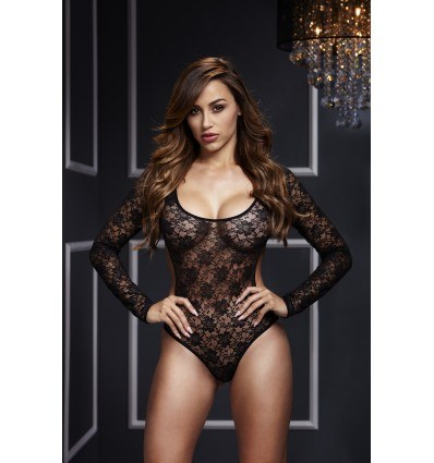 Baci Cutout Sort Blomster Blonde Bodystocking